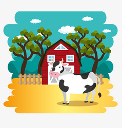 Cows in the farm scene vector