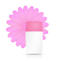 cream bottle with pink flower on white background vector image