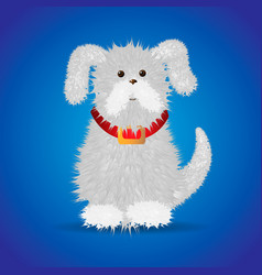 cute funny cartoon white fluffy dog in a red vector image