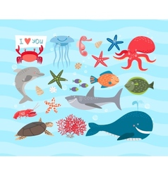 Cute sea animals Dolphin and whale vector