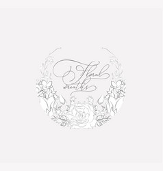 delicate floristic frame with flowers vector image