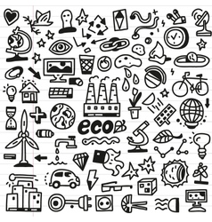ecology - doodles set vector image