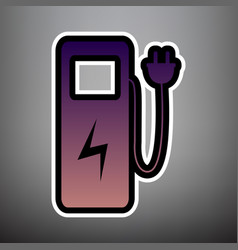 electric car charging station sign violet vector image