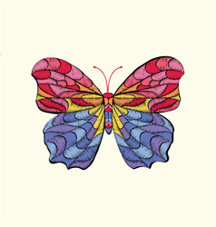 Embroidery pattern with butterfly vector