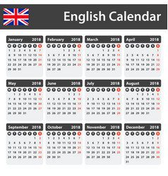 english calendar for 2018 scheduler agenda or vector image