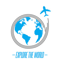 explore the world icon with plane flying around th vector image