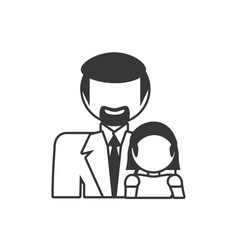 Father and daughter family members outline vector