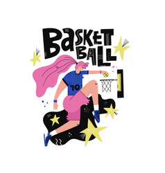 Female basketball player flat vector