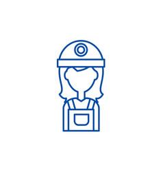 female builder line icon concept female builder vector image
