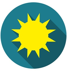 Flat design Sun icon with long shadow isolated vector image
