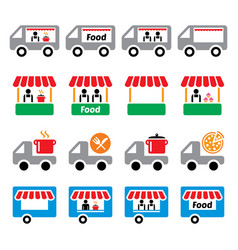 food truck food stand food trailer food deliver vector image