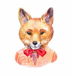 fox hipster hand-drawn animals portrait vector image