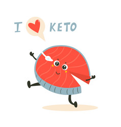 funny cute fish character keto diet lover vector image