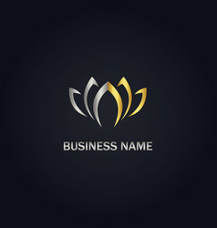Gold lotus flower abstract logo vector