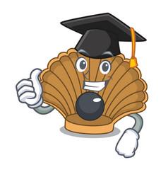 Graduation shell with pearl character cartoon vector