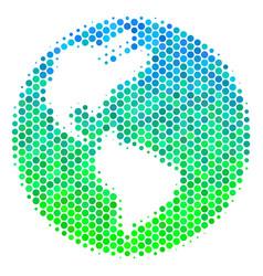 Halftone blue-green earth icon vector