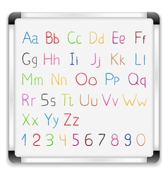 Hand drawn alphabet on whiteboard vector image