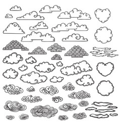 Hand drawn clouds collection vector