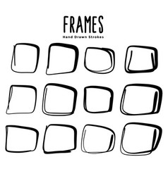 hand drawn uneven square frames set design vector image
