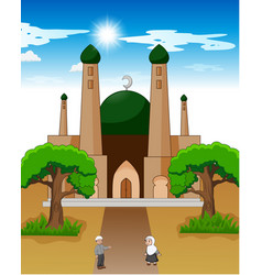 happy cartoon muslim kids waving hand vector image
