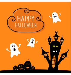 Haunted house pumpkins and ghost Cloud in the sky vector image