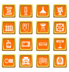 heat cool air flow tools icons set orange square vector image