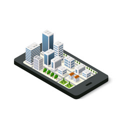 Isometric 3d navigation sign on mobile phone city vector
