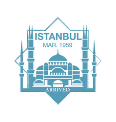 Istanbul arrival ink stamp on passport vector