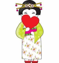 japan heart vector image vector image