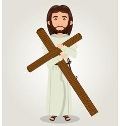 Jesus christ carrying cross design vector