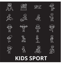 kids sport editable line icons set on black vector image