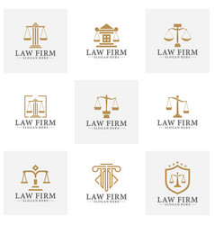 Law office logotypes set with scales justice vector