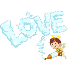 little baby angel with love word vector image
