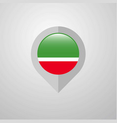 Map navigation pointer with chechen republic flag vector