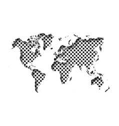 map of world cut into paper with inner shadow vector image
