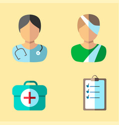 Medical icons the patient and doctor a medical vector