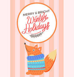 merry christmas and bright winter holidays fox vector image