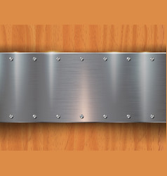 metal plates on wooden background vector image
