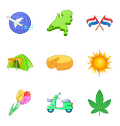 Migration icons set cartoon style vector