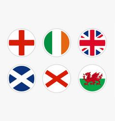 national flags united kingdom set on white vector image