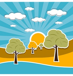 Nature Scenery Retro with Clouds Sun Sky Trees vector image