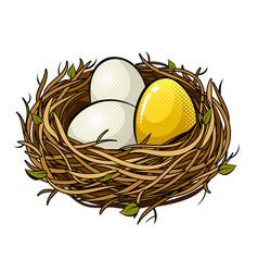 Nest with golden egg pop art vector
