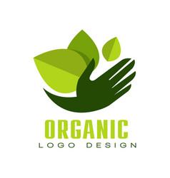 organic logo design eco premium quality green vector image