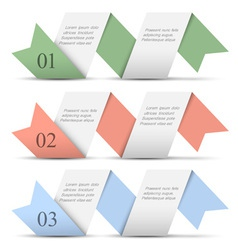 Origami paper numbered banners in pastel colors vector