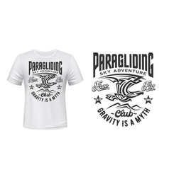 paragliding club t-shirt print with eagle vector image