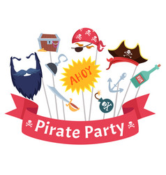 party mask pirate hats beard hairs hook bandanas vector image