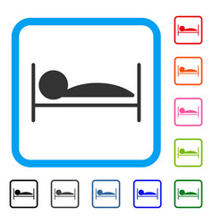 Patient sleep framed icon vector