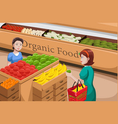people shopping for organic food vector image
