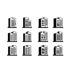 perspective black company icons and line vector image