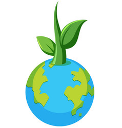 Planet earth plant concept vector